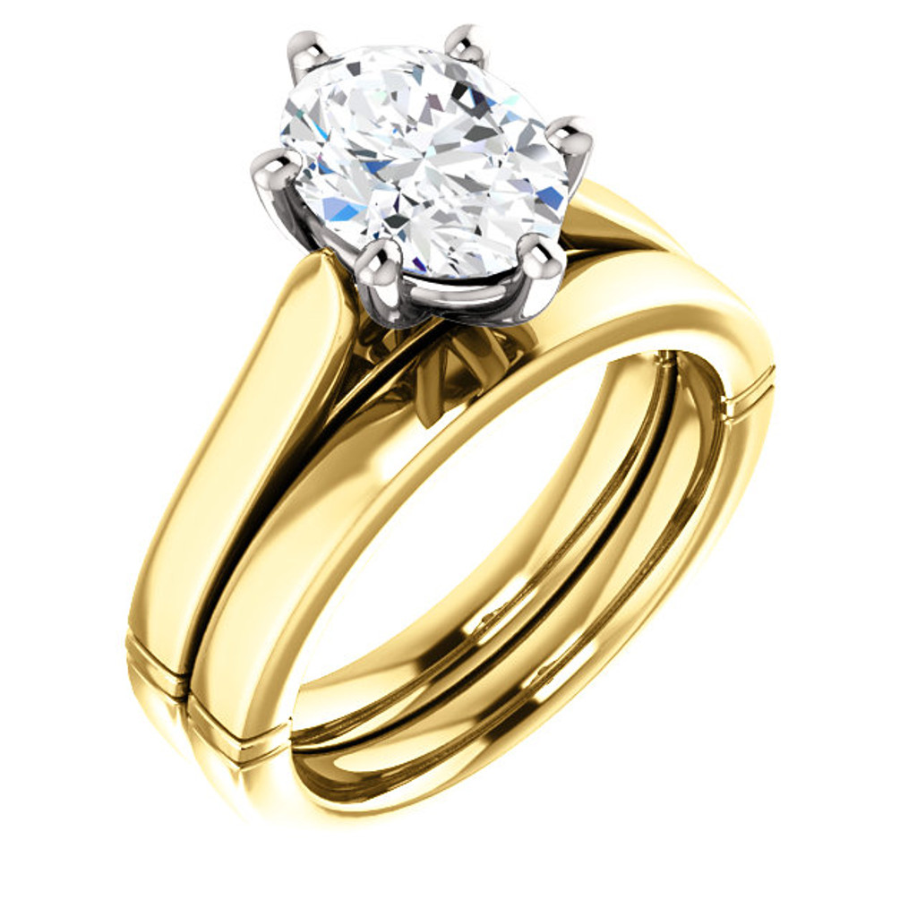 Flawless 2 Carat Oval Cubic Zirconia Solitaire Wedding Set in Solid 14 Karat Yellow & White Gold
