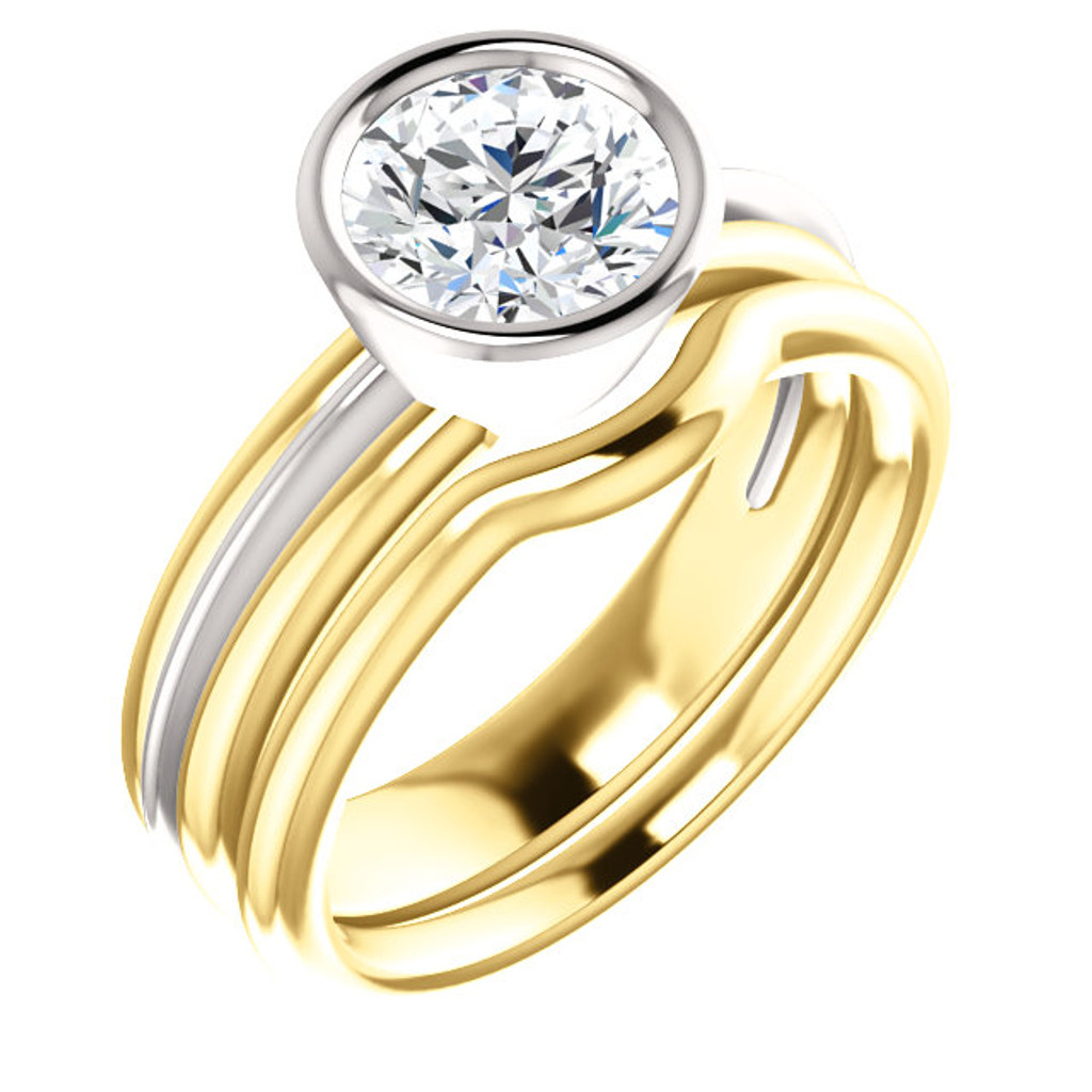 Highest Quality 2 Carat Cubic Zirconia Bezel Set Engagement Ring & Matching Band in Solid 14 White & Yellow Gold