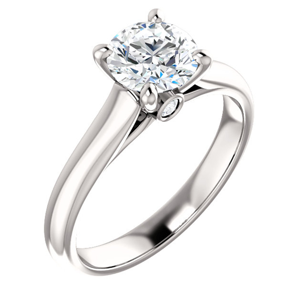 Stunning 1 Carat Round Cubic Zirconia Solitaire Engagement Ring with Hidden Stone Accent in Solid 14 Karat White Gold