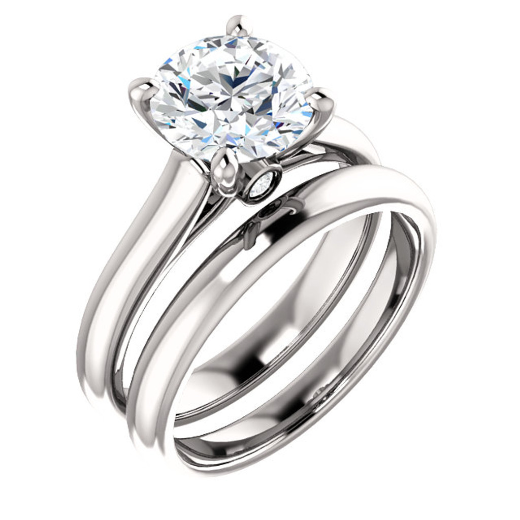 Brilliant 2 Carat Round Cubic Zirconia Solitaire Engagement Ring in Solid 14 Karat White Gold with Matching Wedding Band