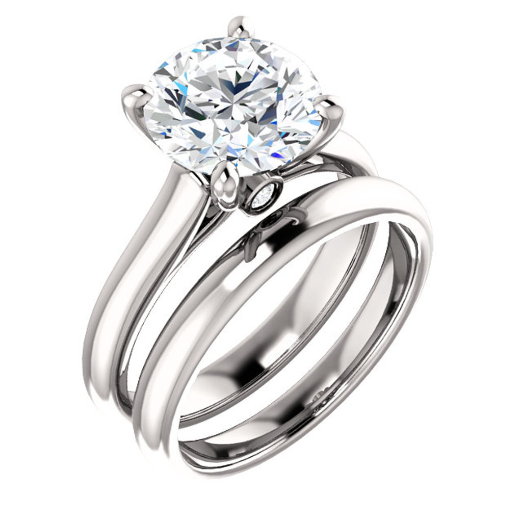 Flawless 3 Carat Round Cubic Zirconia Hidden Stone Solitaire Engagement Ring in Solid 14 Karat White Gold & Matching Wedding Band