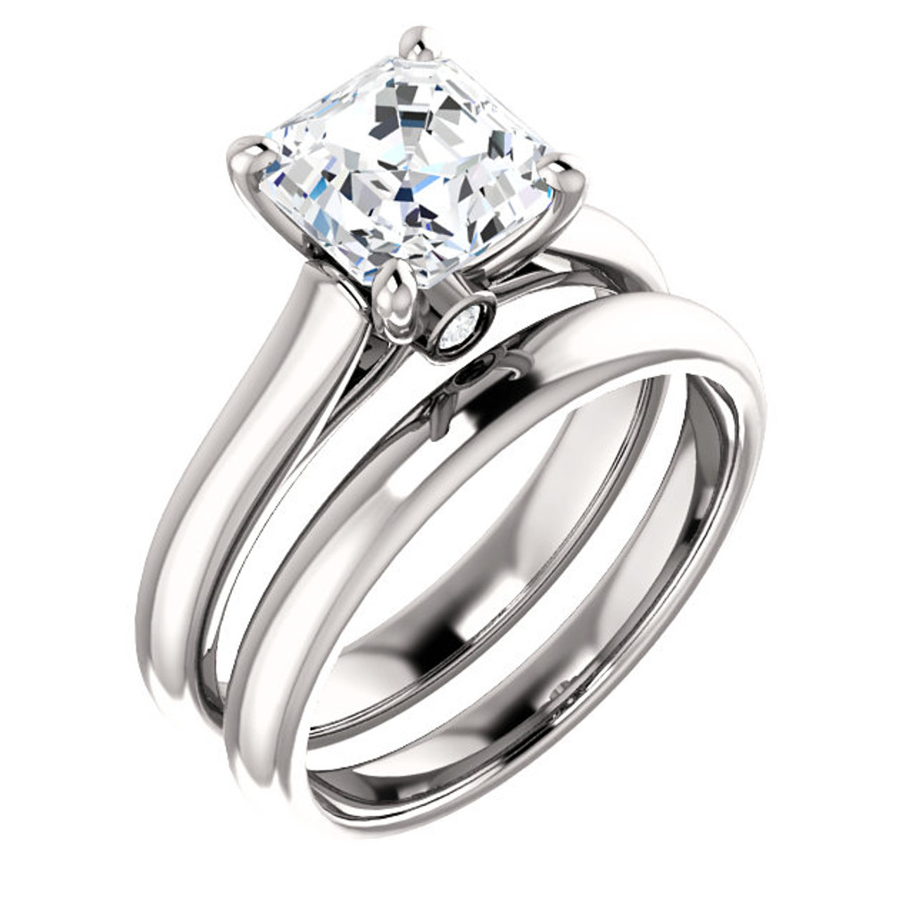 Hand Cut & Polished Asscher Cut 2 Carat Cubic Zirconia Engagement Ring in Solid 14 Karat White Gold & Matching Band