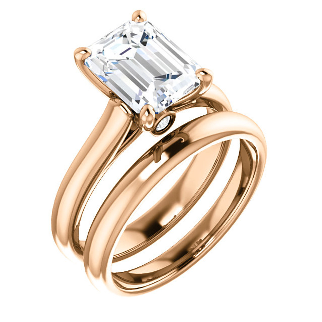 Flawless 2 Carat Emerald Cut Cubic Zirconia Hidden Stone Solitaire Wedding Set in Solid 14 Karat Rose Gold