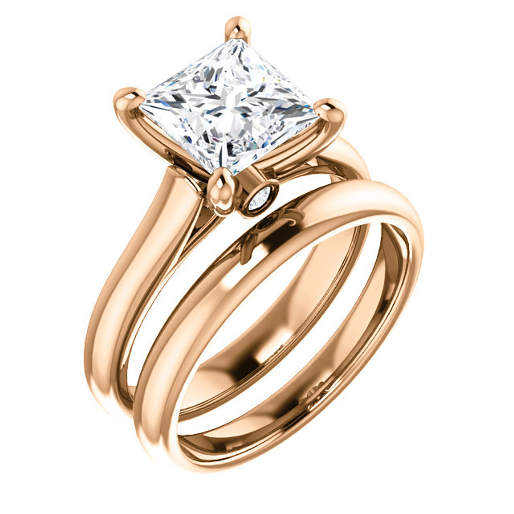 Brilliant 2 Carat Princess Cut Cubic Zirconia Hidden Stone Solitaire Engagement Ring & Matching Band in Solid 14 Karat Rose Gold