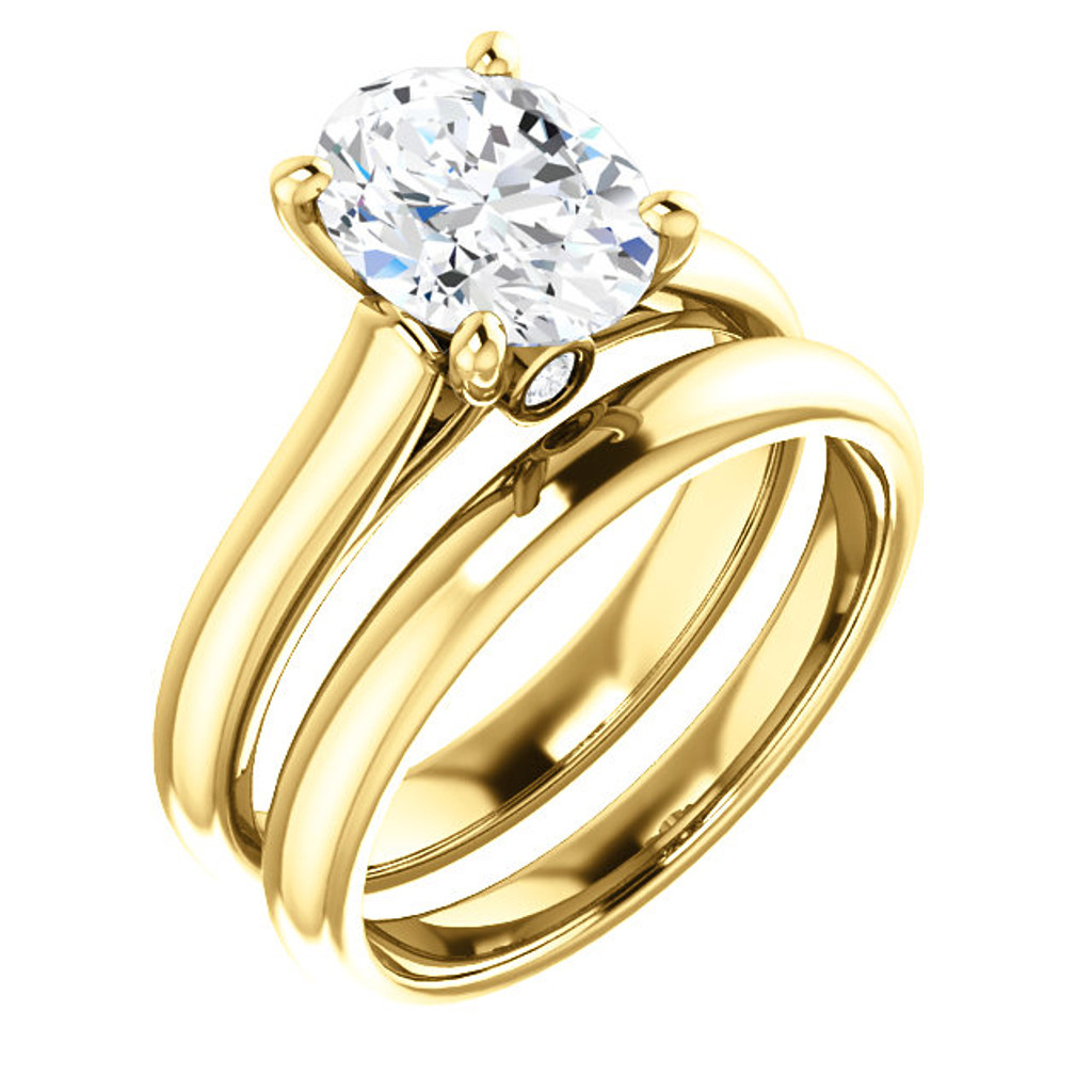 Stunning 2 Carat Oval Cubic Zirconia Hidden Stone Solitaire Wedding Set in Solid 14 Karat Yellow Gold
