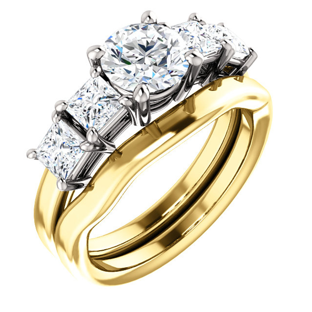 Brilliant 1 Carat Round Cubic Zirconia 5 Stone Engagement Ring & Matching Band in Solid 14 Karat Yellow & White Gold