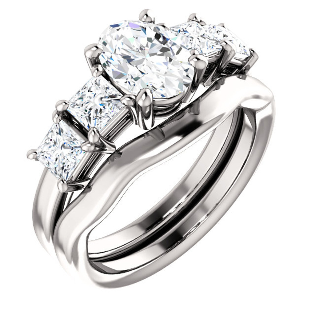 Hand Cut & Polished 2 Carat Oval 5 Stone Engagement Ring & Wedding Band in Solid 14 Karat White Gold