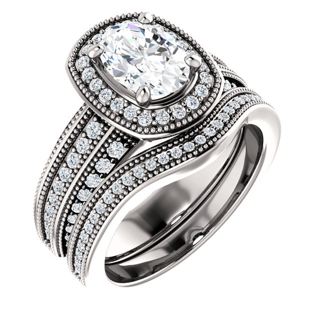 Brilliant 1 Carat Oval Cubic Zirconia in Heavy Solid 14 Karat White Gold Setting