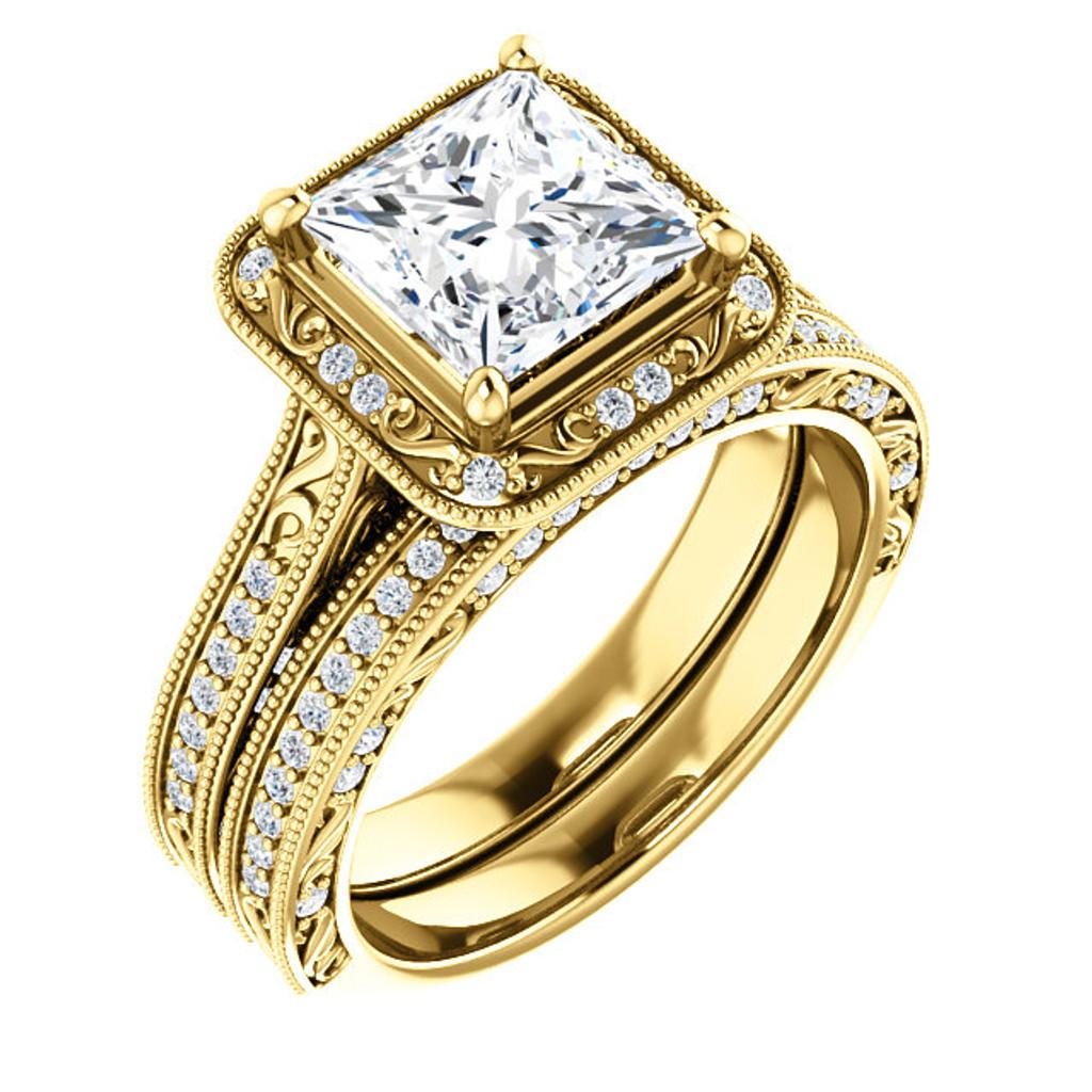Brilliant 2 Carat Princess Cut Halo Wedding Set in Solid 14 Karat Yellow Gold