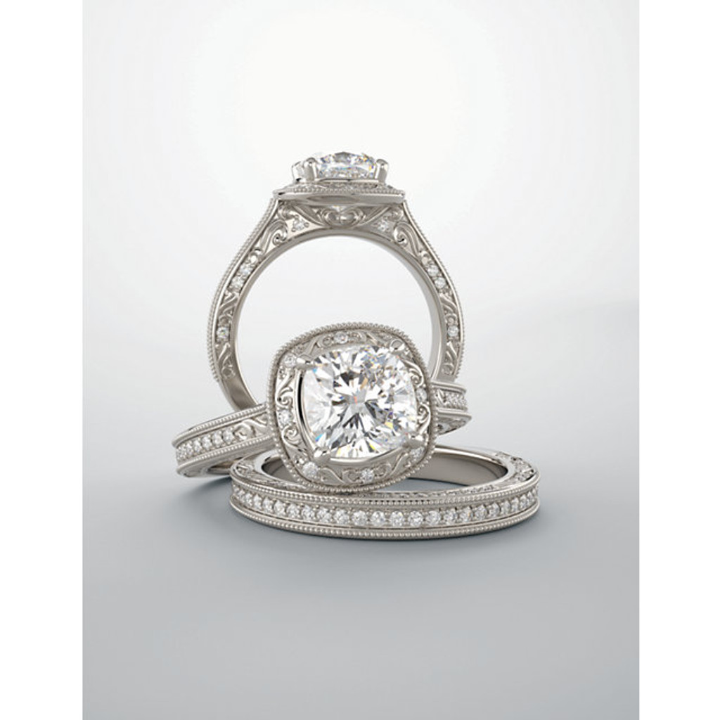 Samara Halo Engagement Ring & Matching Band