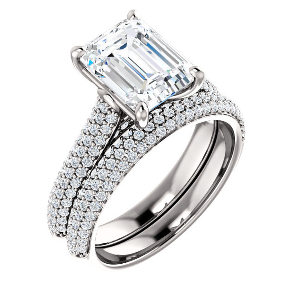 Flawless 2 Carat Emerald Cut Cubic Zirconia Wedding Set in Solid 14 Karat White Gold