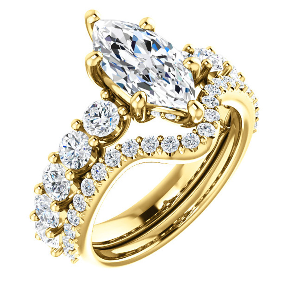 Hand Cut & Polished Marquise Cubic Zirconia Engagement Ring & Matching CZ Band in Solid 14 Karat Yellow Gold