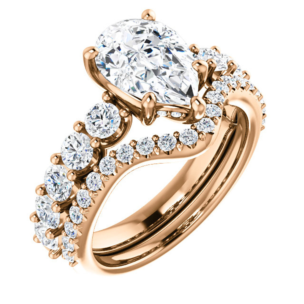Stunning 2 Carat Pear Cubic Zirconia Engagement Ring & Matching Band in Solid 14 Karat Pink Gold