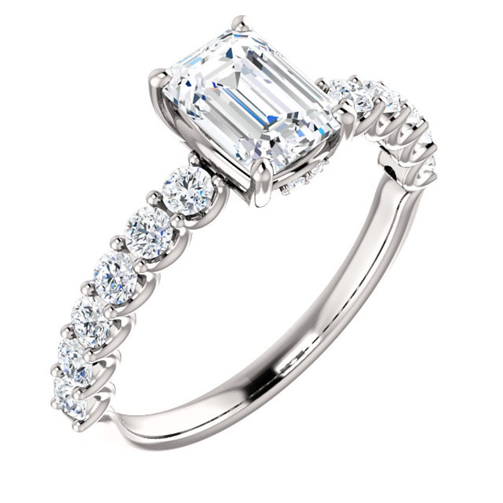 Beautiful 1 Carat Emerald Cut Cubic Zirconia Engagement Ring in Solid 14 Karat White Gold