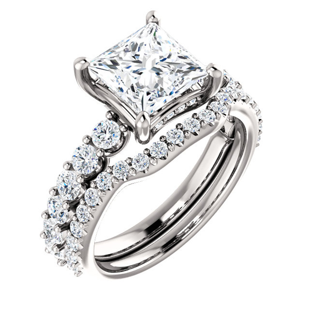 Brilliant 2 Carat Princess Cut Cubic Zirconia Engagement Ring & Matching Band in Solid 14 Karat White Gold