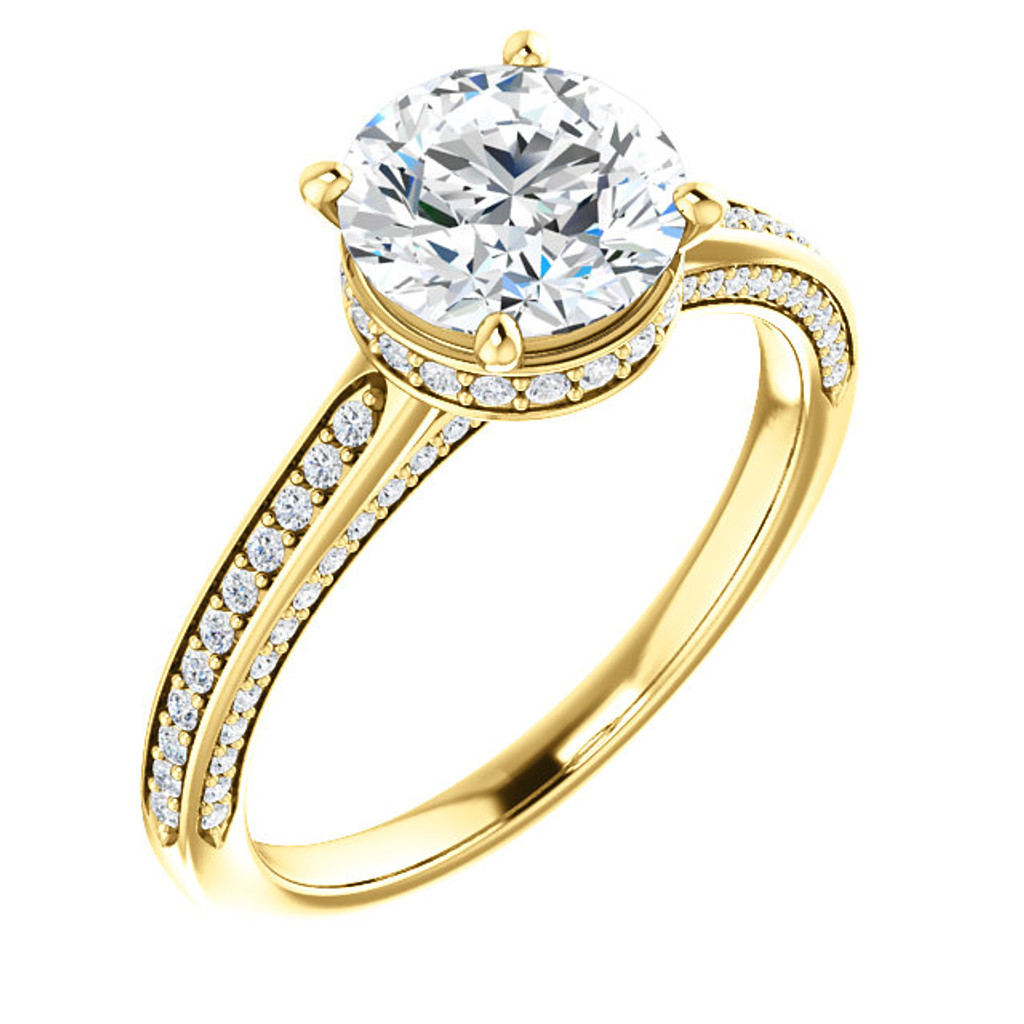 Brilliant 2 Carat Round Cubic Zirconia Hidden Halo Engagement Ring in Yellow Gold
