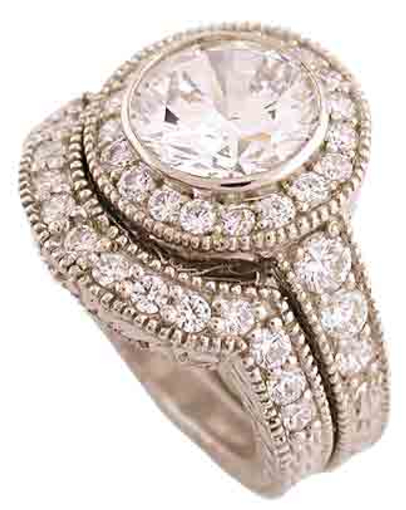 2 Carat CZ Engagement Ring & Wedding Band