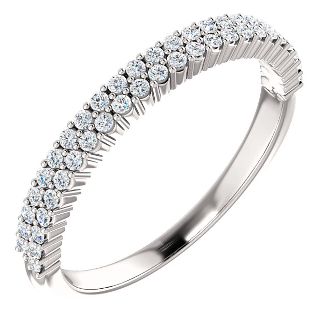 Set of 2 Silver CZ Diamond Wedding Engagement Band Rings Tiny stackable band Half eternity band