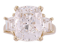 6.00Ct Antique Cushion Cut Three Stone Ring