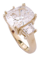 Stunning Antique Cushion Cut Three Stone CZ Ring