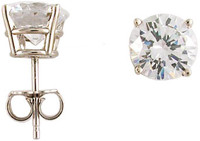 1.50Ct/3.00 TCW 14K White Gold 4 Prong Round Basket Stud Earrings