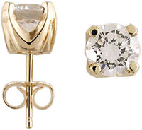 Solid 14 Karat Yellow Gold Setting 2.00Ct TCW Round Solstice Earrings