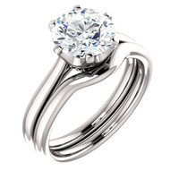 2.00CT Custom Solitaire 14Kt White Gold Crown Setting With Matching Band