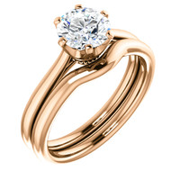1.00CT Custom Designer Solitaire 14Kt Pink Gold Crown Setting With Matching Band