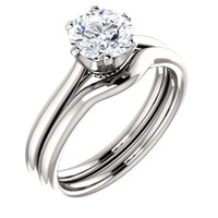 1.00CT Custom Designer Solitaire Engagement Crown Setting With Matching Band