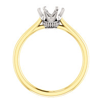 1.00CT Custom Designer Solitaire 14Kt Gold Two Tone Crown Setting