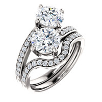 1.25ct Each Round 14Kt White Gold Custom 2 Stone Accented Band Engagement Ring