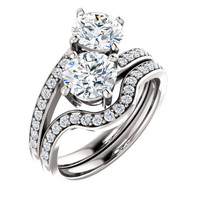 1.00ct Each Round 14Kt White Gold Custom 2 Stone Accented Band Engagement Ring