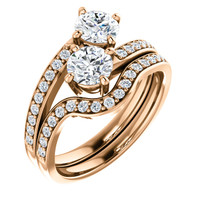 .50ct Each Round 14Kt Pink Gold Custom 2 Stone Engagement Ring With Matching Band