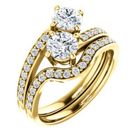 .50ct Each Round 14Kt Yellow Gold Custom 2 Stone Engagement Ring With Matching Band