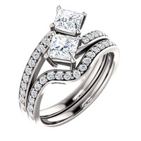.50ct Each Princess Cut 14Kt White Gold Custom 2 Stone Engagement Ring With Matching Band