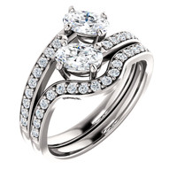 .50ct Each Oval 14Kt White Gold Custom 2 Stone Engagement Ring With Matching Band