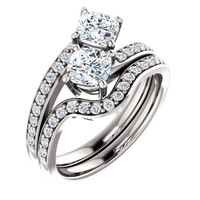 .50ct Each Cushion Cut 14Kt White Gold Custom 2 Stone Engagement Ring With Matching Band