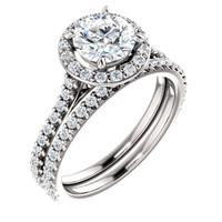 1 Carat Round Halo Engagement Ring