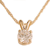 Solid 14 Karat Gold Pendant Setting With A .75Ct Round CZ