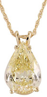 Gorgeous 3.00Ct Canary Pear Cubic Zirconia Pendant