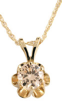 Highest Quality .65Ct Champagne Round CZ Buttercup Pendant