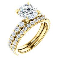 2 Carat Cubic Zirconia Engagement Ring & Matching Band in 14 Karat Yellow Gold