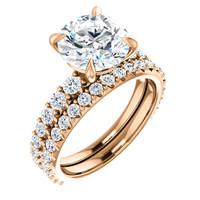 Lovely 3 Carat Round Cubic Zirconia Engagement Ring in 14 Karat Rose Gold