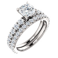 Stackable CZ Band inSolid 14 Karat White Gold