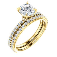 1 Carat Round Cubic Zirconia Wedding Set in 14 Karat Yellow Gold