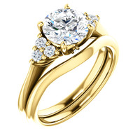 1.50 Carat Cubic Zirconia Wedding Set in Solid 14 Karat Yellow Gold