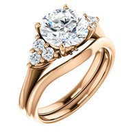 2.50 Carat Cubic Zirconia Wedding Set in Solid 14 Karat Rose Gold