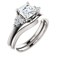 1 Carat Asscher Cut Cubic Zirconia Wedding Set