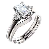 1 Carat Emerald Cut Cubic Zirconia Engagement Ring & Matching Band