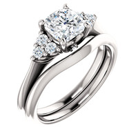 1 Carat Cushion Cut Cubic Zirconia Engagement Ring & Matching Band